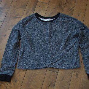 Fabletics Black White Speckled Sweatshirt Top